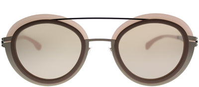 ic! Berlin IC Cancan ShinyBronz Round Plastic Pink Sunglasses with Cinnamon Mirror Lens