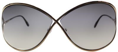Tom Ford Miranda TF 130 28B Fashion Metal Gold Sunglasses with Grey Mirror Lens
