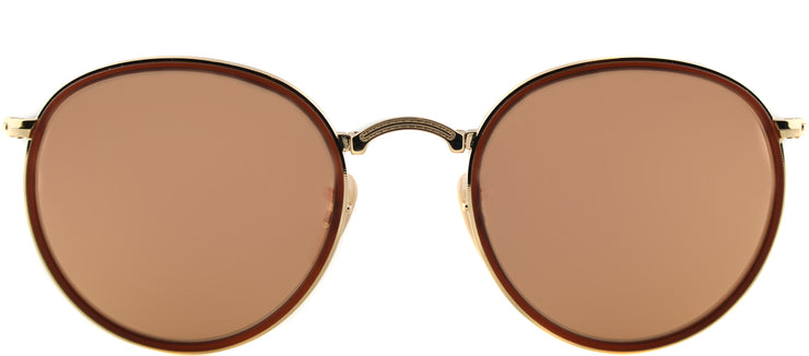 Ray-Ban RB 3517 001/Z2 Round Metal Gold Sunglasses with Pink Mirror Lens