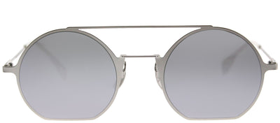 Fendi FF 0291 010 DC Round Metal Silver Sunglasses with Silver Mirror Lens