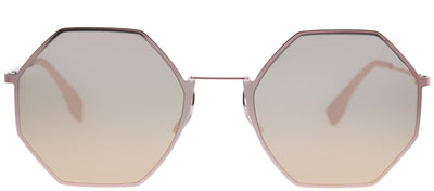 Fendi FF 0292 35J 0J Round Metal Pink Sunglasses with Rose Gold Mirror Lens