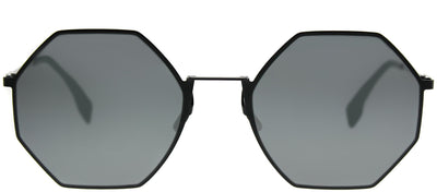 Fendi FF 0292 807 T4 Round Metal Black Sunglasses with Black Mirror Lens