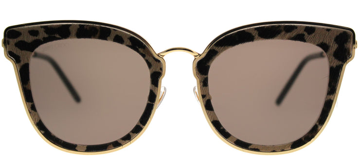 Jimmy Choo JC Nile XMG 2M Cat-Eye Metal Gold Sunglasses with Brown Lens