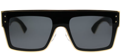 Moschino MOS 001/S 807 IR Rectangle Metal Black Sunglasses with Grey Lens