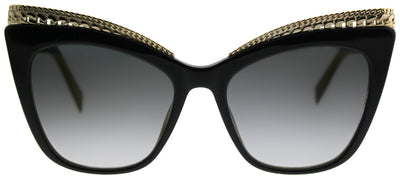 Moschino MOS 009/S 807 FQ Cat-Eye Plastic Black Sunglasses with Gold Gradient Mirror Lens
