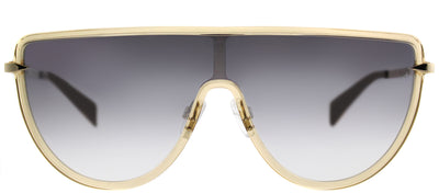Rag & Bone RNB 1008/S 1RL IC Shield Plastic Pink Sunglasses with Silver Mirrored, Gradient Lens