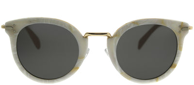 Celine CL 41373 23F NR Round Plastic Ivory/ White Sunglasses with Grey Lens