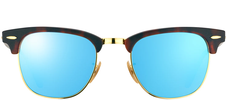 Ray-Ban RB 3016 114517 Clubmaster Plastic Tortoise/ Havana Sunglasses with Blue Mirror Lens