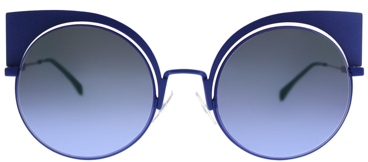 Fendi FF 0177 27F Cat-Eye Metal Blue Sunglasses with Blue Mirror Lens