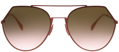 Fendi FF 0194 733 Aviator Metal Pink Sunglasses with Brown Gradient Lens
