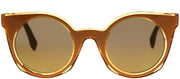 Fendi FF 0196 K9W Cat-Eye Plastic Yellow Sunglasses with Gold Mirror Lens