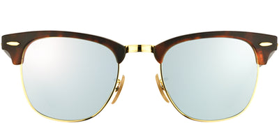 Ray-Ban RB 3016 114530 Clubmaster Plastic Tortoise/ Havana Sunglasses with Silver Mirror Lens