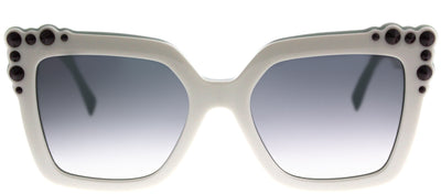 Fendi FF 0260 0GA Square Plastic Ivory/ White Sunglasses with Dark Grey Gradient Lens