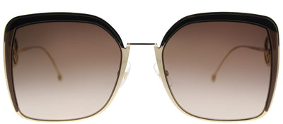 Fendi FF 0294 09Q Square Metal Gold Sunglasses with Brown Gradient Lens