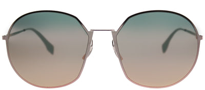 Fendi FF 0313/F 35J 0J Round Metal Pink Sunglasses with Rose Gold Mirror Lens