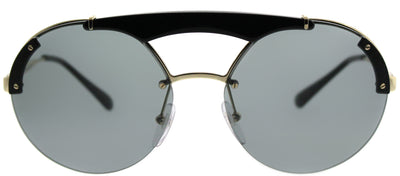 Prada PR 52US 1AB3C2 Round Metal Gold Sunglasses with Grey Lens