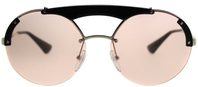 Prada PR 52US 1AB4Q0 Round Metal Silver Sunglasses with Light Pink Lens