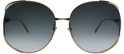 Gucci GG 0225S 001 Round Metal Gold Sunglasses with Grey Gradient Lens