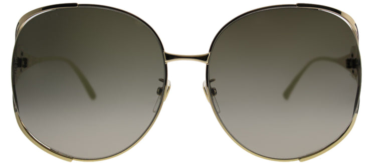 Gucci GG 0225S 002 Round Metal Gold Sunglasses with Brown Gradient Lens