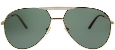 Gucci GG 0242S 003 Aviator Metal Gold Sunglasses with Green Lens