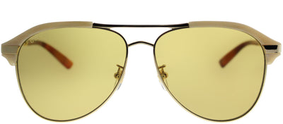 Gucci GG 0288SA 004 Aviator Plastic Beige Sunglasses with Brown Lens