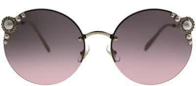 Miu Miu MU 52TS VW7146 Round Metal Gold Sunglasses with Pink Gradient Lens
