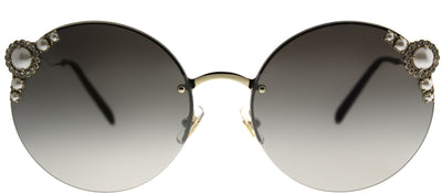 Miu Miu MU 52TS VW75O0 Round Metal Gold Sunglasses with Silver Mirror Lens