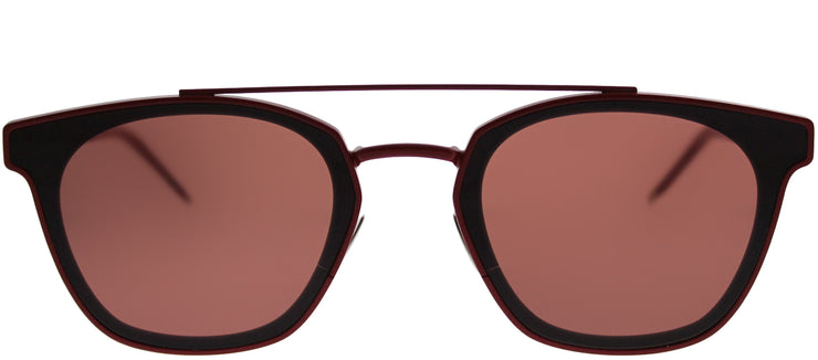 Saint Laurent SL 28Metal 003 Rectangle Plastic Burgundy/ Red Sunglasses with Red Lens
