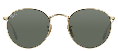 Ray-Ban RB 3447 001 Round Metal Gold Sunglasses with Green Lens