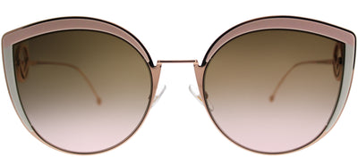 Fendi FF 0290 35J Cat-Eye Metal Pink Sunglasses with Brown Gradient Lens