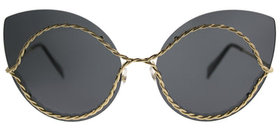 Marc Jacobs MARC 161 J5G Cat-Eye Metal Gold Sunglasses with Silver Mirror Lens