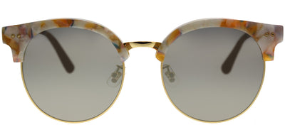 Gentle Monster GMS MoonCut.S WD1 2M Round Plastic Beige Sunglasses with Gold Mirror Lens