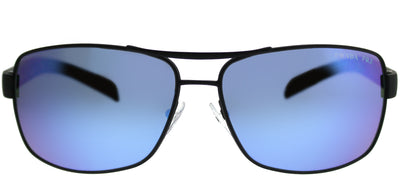 Prada Linea Rossa PS 54IS DG02E0 Aviator Metal Black Sunglasses with Blue Mirror Polarized Lens
