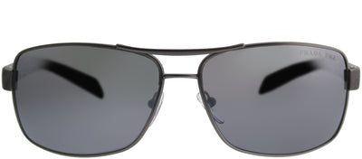 Prada Linea Rossa PS 54IS DG12F2 Aviator Metal Ruthenium/ Gunmetal Sunglasses with Silver Mirror Gradient Polarized Lens