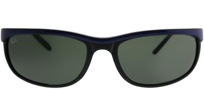 Ray-Ban Predator 2 RB 2027 6301 Rectangle Plastic Blue Sunglasses with Green Lens