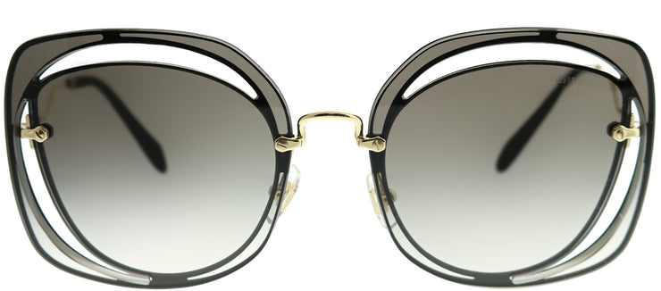 Miu Miu MU 54SS 1AB0A7 Fashion Metal Black Sunglasses with Grey Gradient Lens