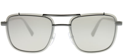 Prada PR 59US 5AV197 Square Metal Ruthenium/ Gunmetal Sunglasses with Silver Mirror Lens