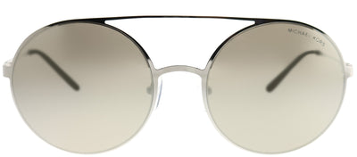 Michael Kors MK 1027 10016G Round Metal Silver Sunglasses with Bronze Gradient Flash Lens
