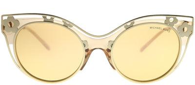 Michael Kors MK 1038 33557J Cat-Eye Metal Brown Sunglasses with Yellow Gold Mirror Lens