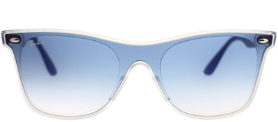 Ray-Ban RB 4440N 6356X0 Wayfarer Plastic Clear Sunglasses with Blue Gradient Mirror Red Lens