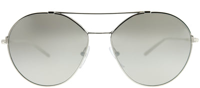 Prada PR 56US 1BC2B0 Round Metal Silver Sunglasses with Silver Mirror Lens