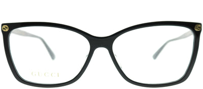 Gucci GG 0025O 001 Rectangle Plastic Black Eyeglasses with Demo Lens