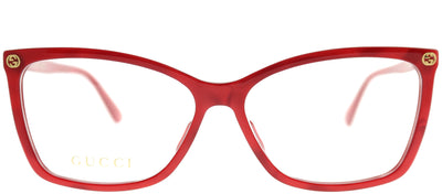 Gucci GG 0025O 004 Rectangle Plastic Burgundy/ Red Eyeglasses with Demo Lens