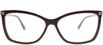 Gucci GG 0025O 007 Rectangle Plastic Burgundy/ Red Eyeglasses with Demo Lens