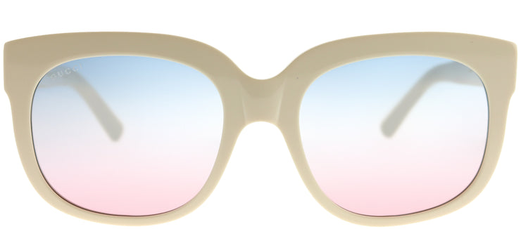 Gucci GG 0361S 002 Square Plastic Ivory/ White Sunglasses with Blue Gradient Mirror Lens