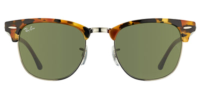Ray-Ban RB 3016 1157 Clubmaster Plastic Tortoise/ Havana Sunglasses with Green Lens