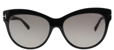 Tom Ford Lily TF 430 05D Cat-Eye Metal Black Sunglasses with Grey Polarized Lens
