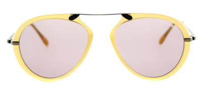 Tom Ford Arron TF 473 39Y Aviator Plastic Yellow Sunglasses with Pink Lens