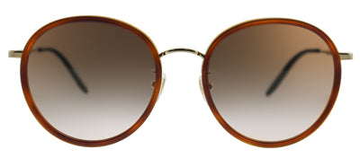Gucci GG 0677SK 003 Round Metal Havana Sunglasses with Brown Gradient Lens