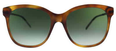 Gucci GG 0654S 002 Square Plastic Havana Sunglasses with Green Gradient Lens
